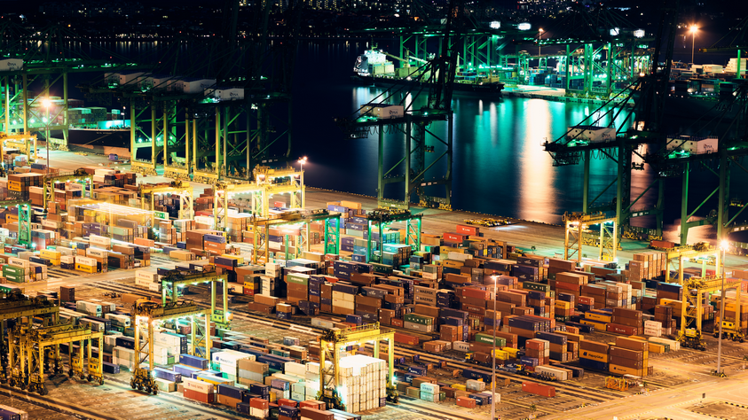 industrial port and containers
